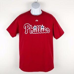 Philadelphia Phillies #11 Rollins Mens Red T-Shirt